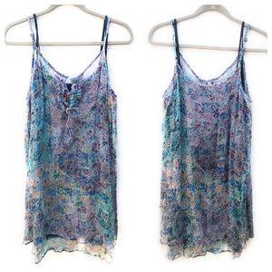 Lucky Brand Silk Mini Slip Dress Top